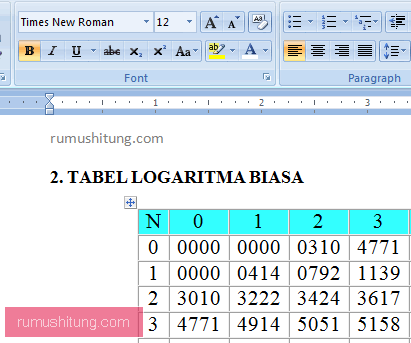 Download Tabel Logaritma Pdf Dan Word Rumushitung
