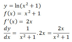 y= ln(x^2+1) f(x)= x^2+1 f^' (x)= 2x dy/dx= 1/(x^2+1).2x=2x/(x^2+1)
