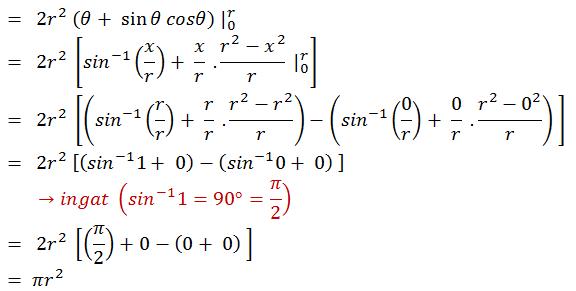 =  2r^2  (θ+ sin〖θ cosθ) |_0^r 〗 =  2r^2  [〖sin〗^(-1) (x/r)+ x/r  .(r^2-x^2)/r  |_0^r ] =  2r^2  [(〖sin〗^(-1) (r/r)+ r/r  .(r^2-r^2)/r)-(〖sin〗^(-1) (0/r)+ 0/r  .(r^2-0^2)/r)  ] =  2r^2  [(〖sin〗^(-1) 1+ 0)-(〖sin〗^(-1) 0+ 0)  ]        →ingat (〖sin〗^(-1) 1=90°=π/2) =  2r^2  [(π/2)+0-(0+ 0)  ] = πr^2