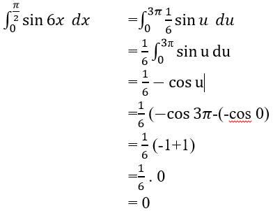 ∫_0^(π/2)▒sin6x   dx =∫_0^3π▒〖1/6 sin〗u   du    =  1/6 ∫_0^3π▒sinu  du    = 1/6-cosu    =1/6 (〖-cos〗3π-(-cos 0)    =  1/6 (-1+1)    =1/6 . 0    = 0
