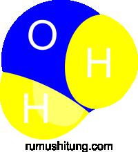 rumus kimia air, gambar air, gambar molekul air