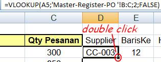 cara copy paste rumus excel dengan double click