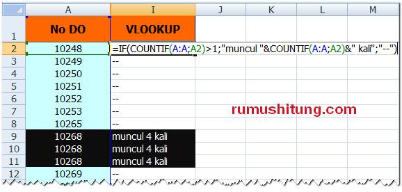 rumus mencari data double di microsoft excel
