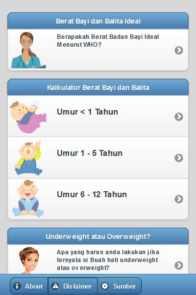 Tampilan Aplikasi Kalkulator Berat Bayi