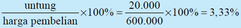 contoh perhitungan persentase keuntungan