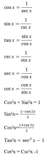 cos〖x=1/secx 〗 sinx=1/cscx  tanx=sinx/cosx  cscx=1/sinx  secx=1/cosx  cotx=cosx/sinx  Cos2x + Sin2x = 1 Sin2x=(1-cos2x)/2 Cos2x=(1+cos2x)/2 Tan2x =sec^2x-1 Cot2x = Csc2x -1